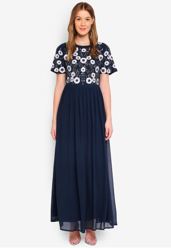 Angeleye navy Floral Embellished Maxi 06E60AAA3CE7E9GS_1