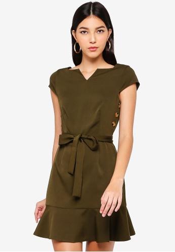 ZALORA green Button Detail Dress F08FCAAB5A57C7GS_1