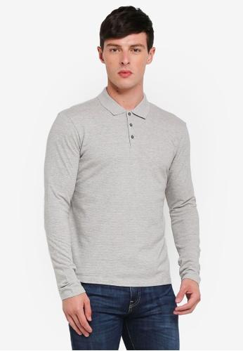 Selected Homme 灰色 Jon Long Sleeve Polo Shirt E4537AAA50913BGS_1