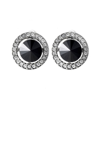 Glamorousky black Elegant Earrings with Black Crystal Glass and Silver Austrian Element Crystals A28AEAC6A6BD2FGS_1