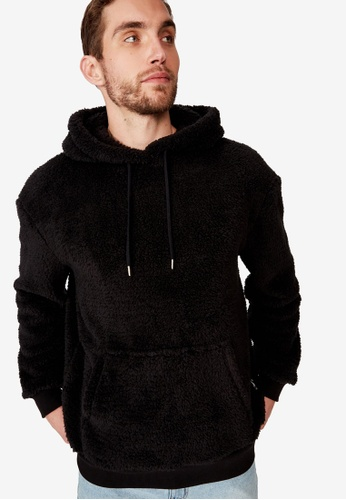 Cotton On black Drop Shoulder Teddy Fleece Hoodie 61026AA1FA3842GS_1