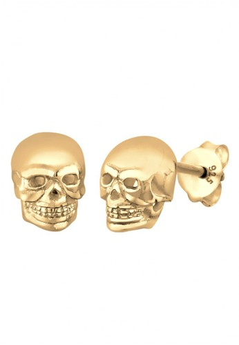 Elli Germany gold Perhiasan Wanita Perak Asli - Silver Anting Stud Skull Gold Plated EL948AC21KOOID_1