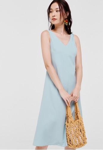Love, Bonito blue Norah V-neck Midi Dress 7B8F3AAD409411GS_1