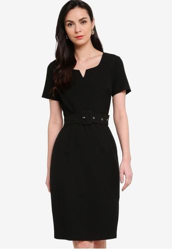 ZALORA WORK black Notch Neck Sheath Dress 717F5AA2E834D9GS_1