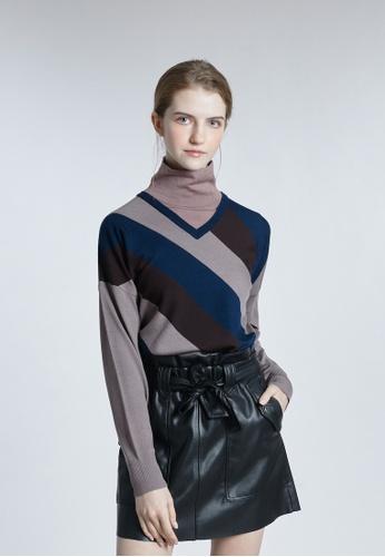 KLAPS blue V-neck Dropped shoulderSweater 5CD6FAAF1A7535GS_1