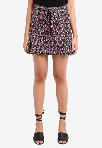 TOPSHOP black Petite Floral Plisse Skirt 75B25AA07A40A9GS_1