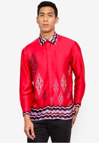 Gene Martino red Men's Batik Shirt 93644AA6344751GS_1