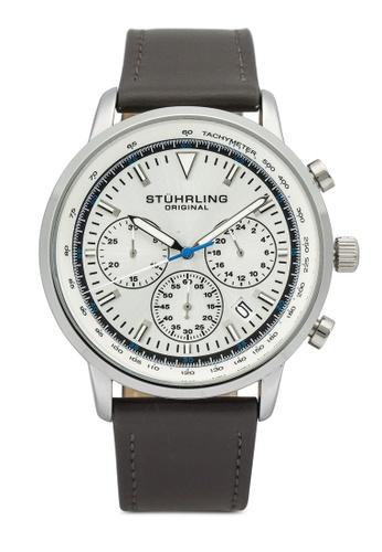 Stuhrling Original 灰色 and 銀色 3986L Quartz 44mm Chronograph Watch 9B4BEACE00DB46GS_1