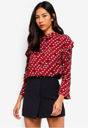 Hopeshow red Star Print Capri Sleeve Button Blouse 1AF99AA7B3BF50GS_1