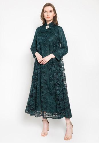 Kasa Heritage green Calla Dress - Emerald 8E7F6AA5D07456GS_1