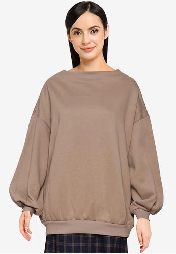 LOWRYS FARM beige Puff Sleeve Sweatshirt E11D3AA1FBCF61GS_1