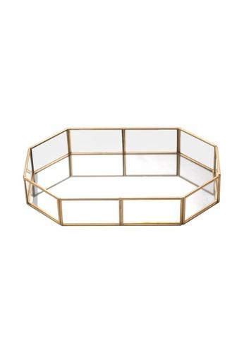 DILAS HOME Octagonal Vintage Brass Glass Tray - Big 09089HL472FA18GS_1