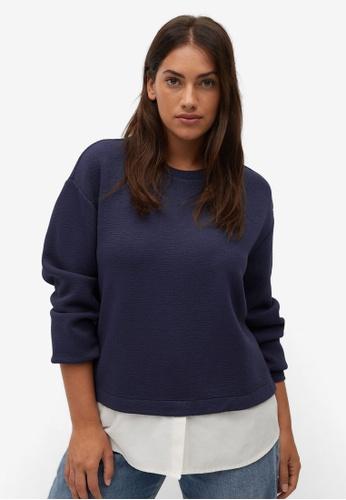 Violeta by MANGO blue Plus Size Combined Sweatshirt 5E7A3AA724E882GS_1