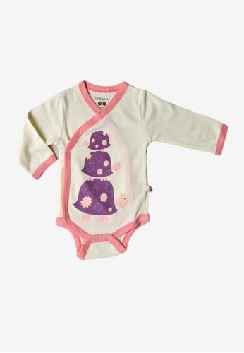 Babysoy white Long Sleeve Kimono Bodysuit Turtle 8DD0AKAB6E4113GS_1