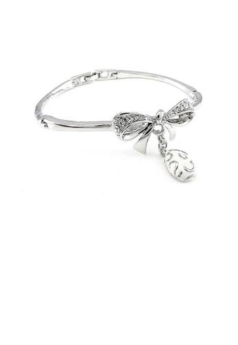 Glamorousky silver Fancy Ribbon Bangle with Silver Austrian Element Crystal 8F8BEAC05C0B4DGS_1