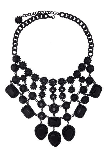 Jaysa Collection black Gothic Style Grand Collar Necklace with Black Resin Jewels 39600ACD29A3FAGS_1