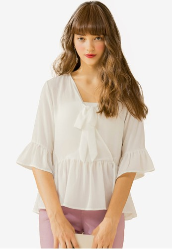 Eyescream white Flutter Sleeve Blouse 918B5AA79E28F2GS_1