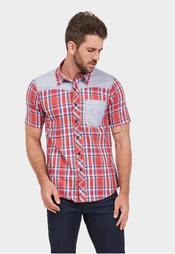 NEXT GEN red NEXT GEN Short Sleeve Henley Check Shirt 5040 01526AA21A1C6EGS_1