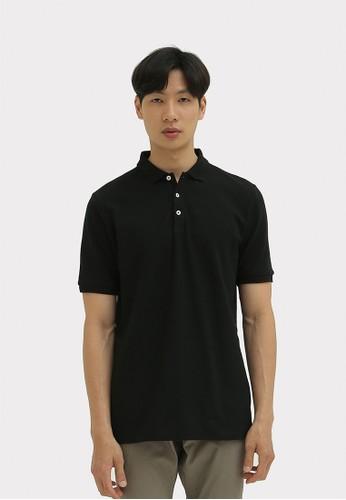 DUE/E black Curtis Polo Shirt in Black 2E8A8AA6A405FCGS_1