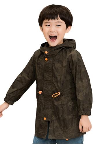 M.Latin green Camo Print Hooded Zip Jacket 97E6CKA6FC33D0GS_1