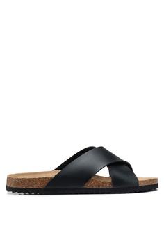 bacb4086bc9815 Brave Soul black Dawson Cork Sandals with Cross Straps 0CE7CSH7FF32D5GS 1