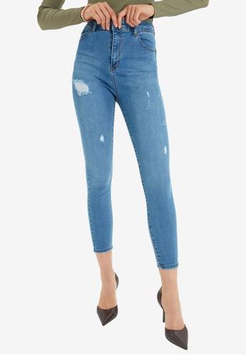 Trendyol blue Blue High Waist Ripped Skinny Jeans DC28CAA6975FE4GS_1