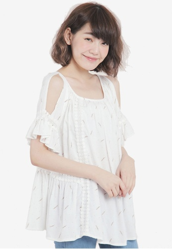 Tokichoi beige Top with Cold Shoulder and Pom Pom Detail CDA50AAAAEF704GS_1