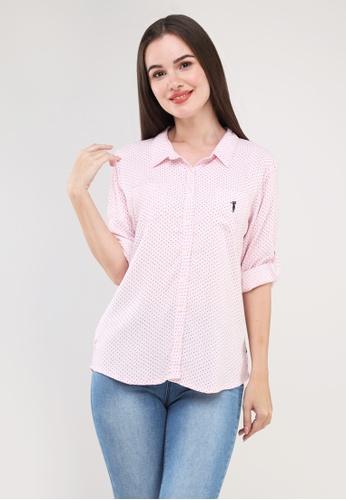 """Bossini Ladies pink Woven Printed Rayon 3/4"""" Sleeves Polo 8E3C5AAE4E3A7FGS_1"""