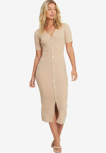 The Fated beige Lilly Midi Dress 46750AAF0DC8AEGS_1