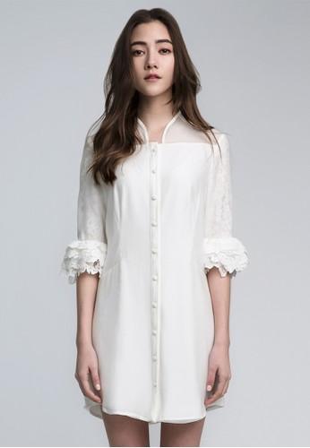立體蕾絲花苞袖洋裝,esprit 見工 服飾, 襯衫