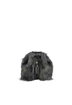 c803b7433 LIVLOLA black and grey Mini Vegan Faux Fur Backpack in grey  5584EAC65473CEGS_1