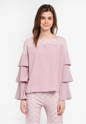Zalia pink Lace Pieced Layered Sleeve Top C75F0AA0CA2228GS_1