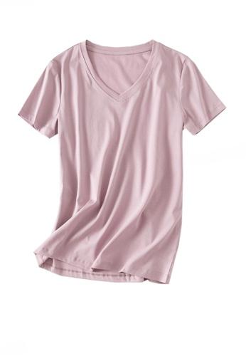 Twenty Eight Shoes pink VANSA V-neck Mercerized Cotton Short-sleeved T-Shirt VCW-Ts1902V 030EFAAED0EB52GS_1