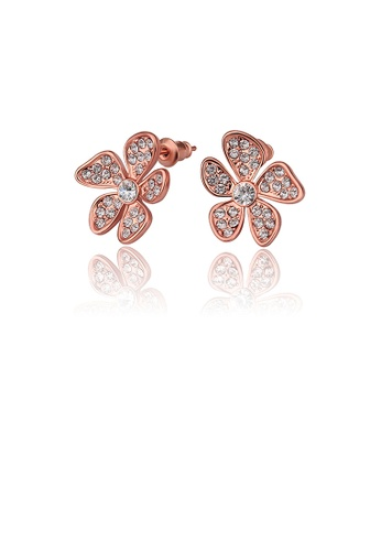 Glamorousky white Elegant Plated Rose Gold Flower Stud Earrings with Austrian Element Crystal CDD21AC8CD9328GS_1