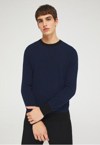Sisley black Crew neck 3D look sweater A2CC9AA4AA998EGS_1