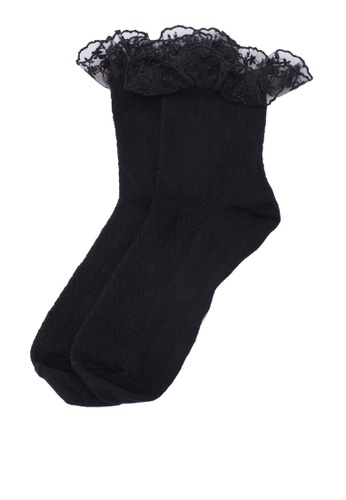 Dorothy Perkins black Black Lace Textured Socks E4A69AA2A2C787GS_1