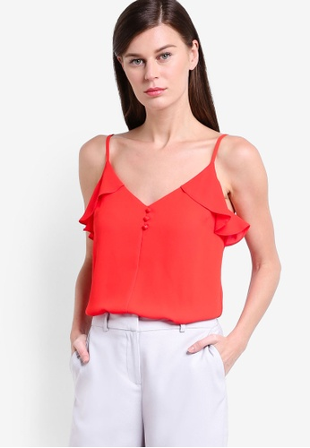 Dorothy Perkins red Red Ruffle Front Cami Top DO816AA39CAMMY_1