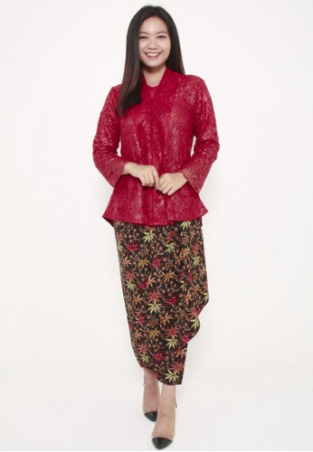 Naphthys Collection black and red and green and multi Batik Skirt/Sarong 57291AAD43F04CGS_1