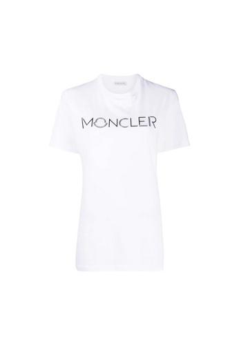 Moncler white Moncler Logo Print T-Shirt in White 4C50DAA71D06D4GS_1