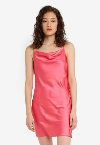 35bf386bb3a1d Buy Miss Selfridge Coral Cowl Neck Mini Slip Dress Online on ZALORA ...