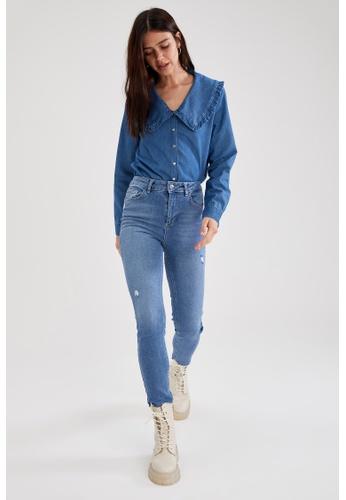 DeFacto blue High Waist Vintage Slim Jeans D4FDDAA6D8C405GS_1