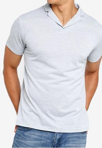 ZALORA BASICS grey Revere Collar Polo Shirt 60757AAF4BDB40GS_1