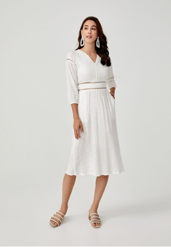 Love, Bonito white Mireia Jacquard Puff Sleeve Dress 962D6AA15FF189GS_1