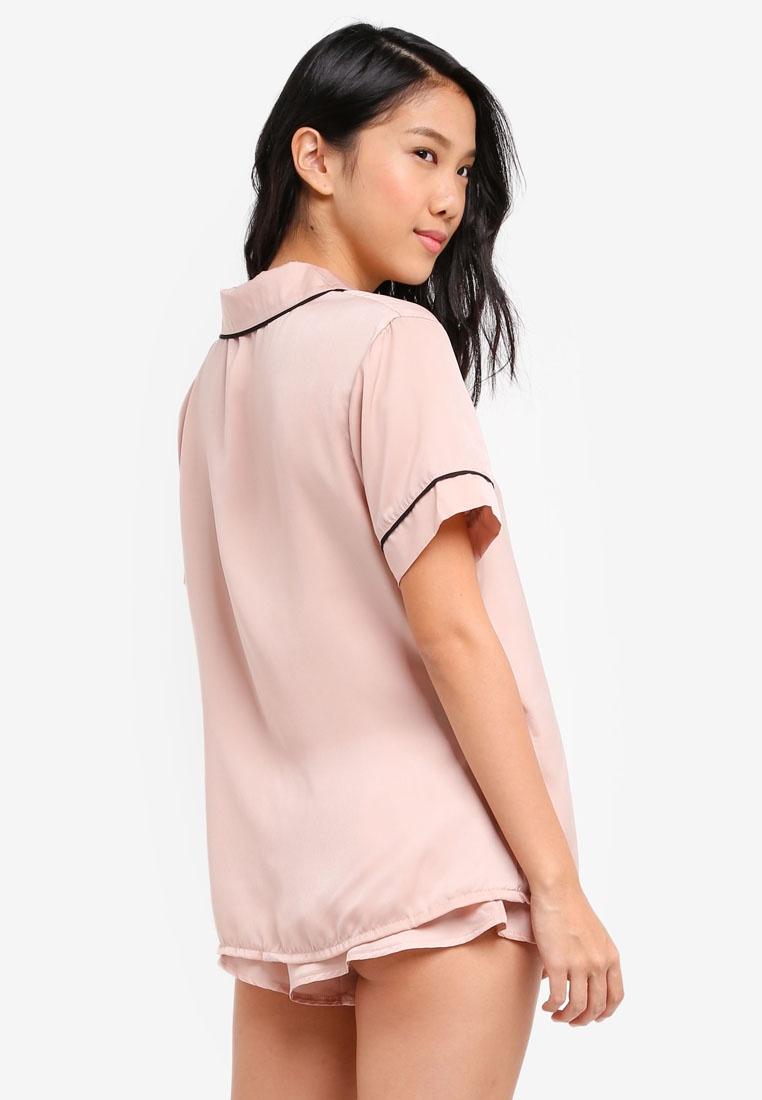 And Shorts Bluebella Black Set Shirt Dust Rose Kara OwFFEq7H