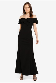 9184cb12ba Boohoo Bardot Double Ruffle Sweetheart Maxi Dress S$ 61.90. Sizes 6 8 10 12  14