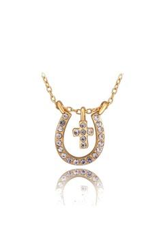 18k Gold Plated Cross Hoof (Horseshoe) Necklace