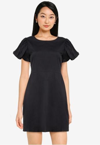 ZALORA BASICS black Puff Sleeve Sheath Dress DD756AABAE2F21GS_1