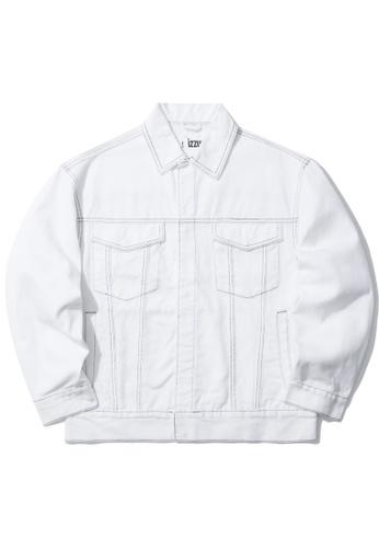 izzue white Contrast stitch denim jacket A5AC6AABBD8577GS_1