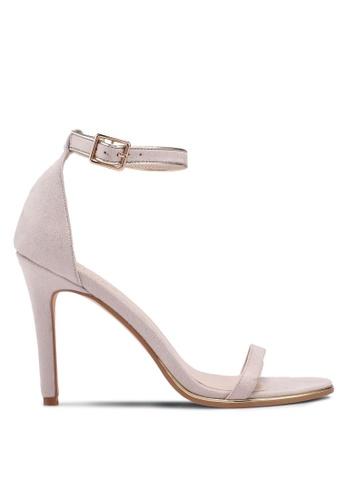 ZALORA beige High Sandal Heels with Metallic Trim 7B515SH9643A1CGS_1
