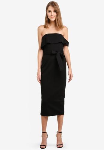 Lavish Alice black Asymmetric Bandeau Ponte Midi Dress LA457AA0SANBMY_1